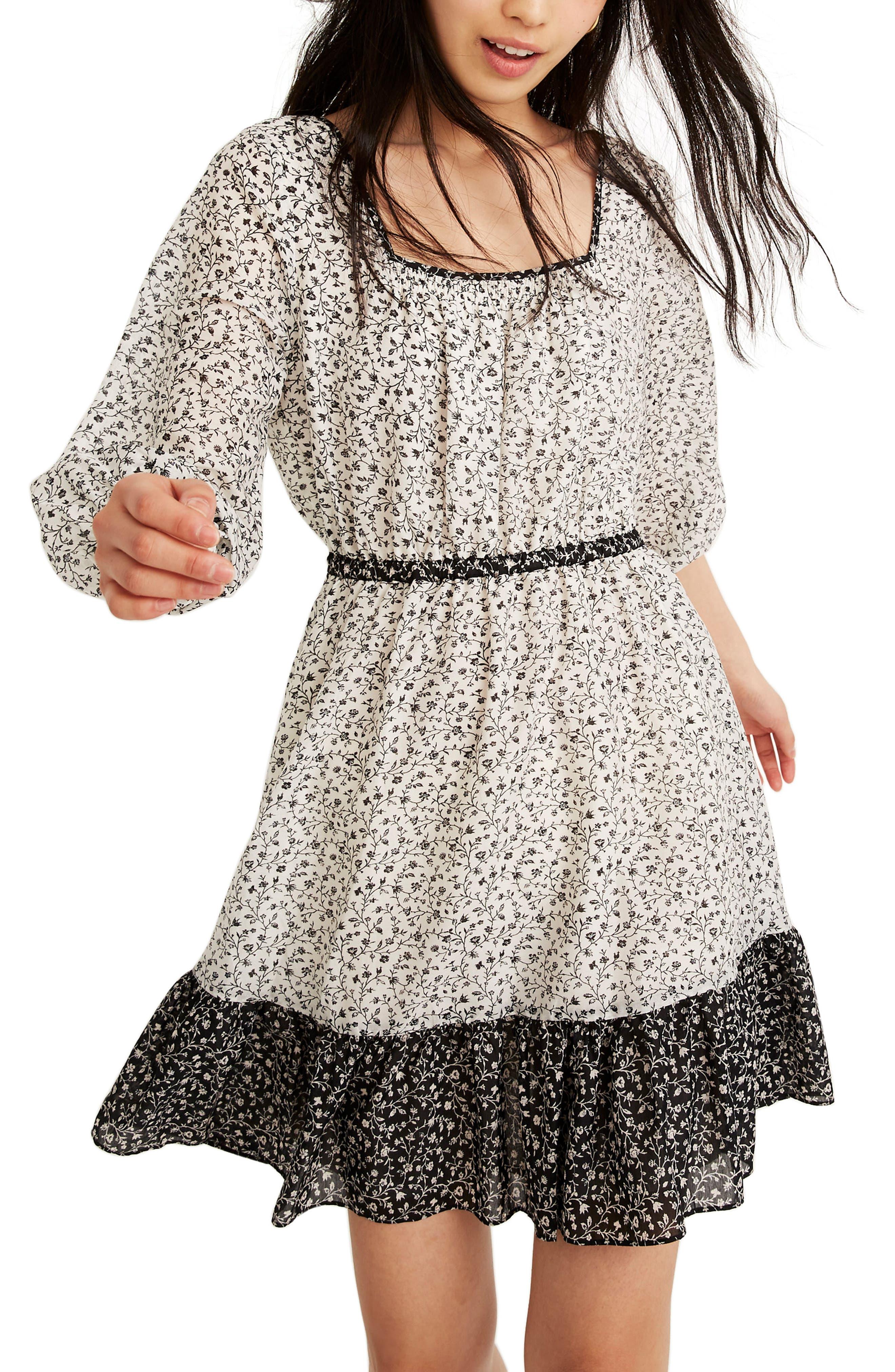 Madewell Garden Toile Pattern Mix Ruffle Hem Dress, Ivory