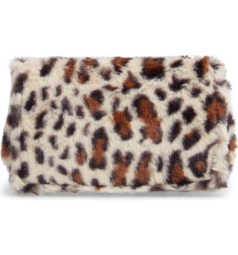 CAPELLI NEW YORK Faux Fur Crossbody Bag, Main, color, NATURAL COMBO