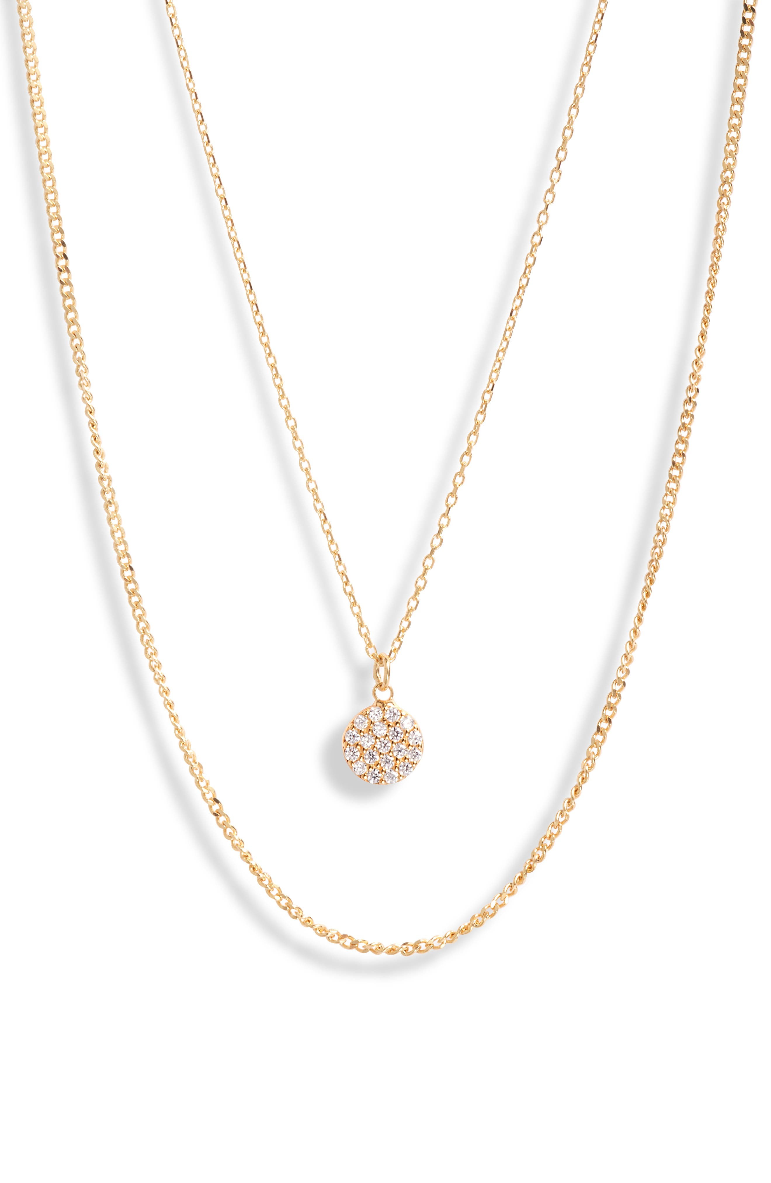Pave Pendant Layered Necklace
