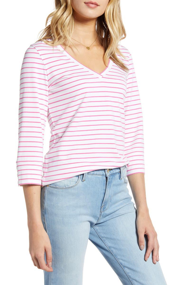 1901 V-Neck Top, Main, color, WHITE- PINK STRIPE