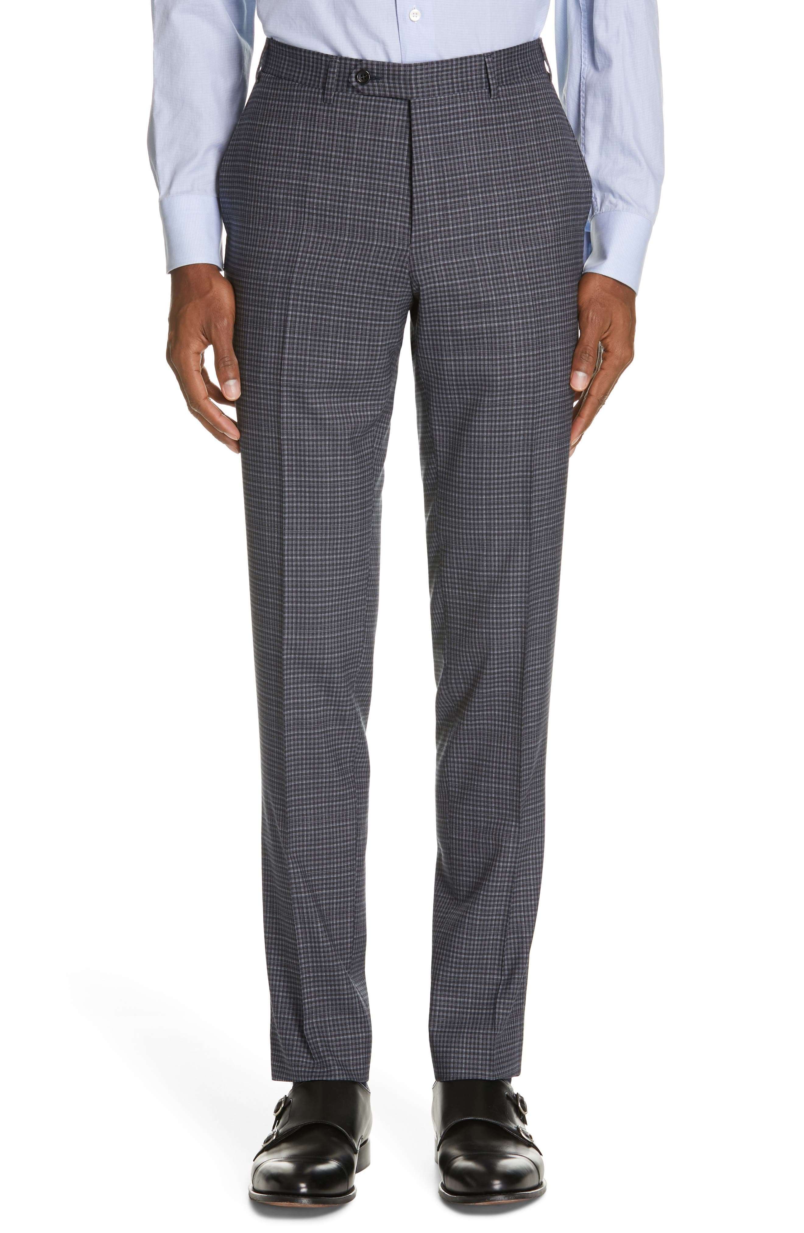 ,                             Milano Trim Fit Check Wool Suit,                             Alternate thumbnail 6, color,                             CHARCOAL