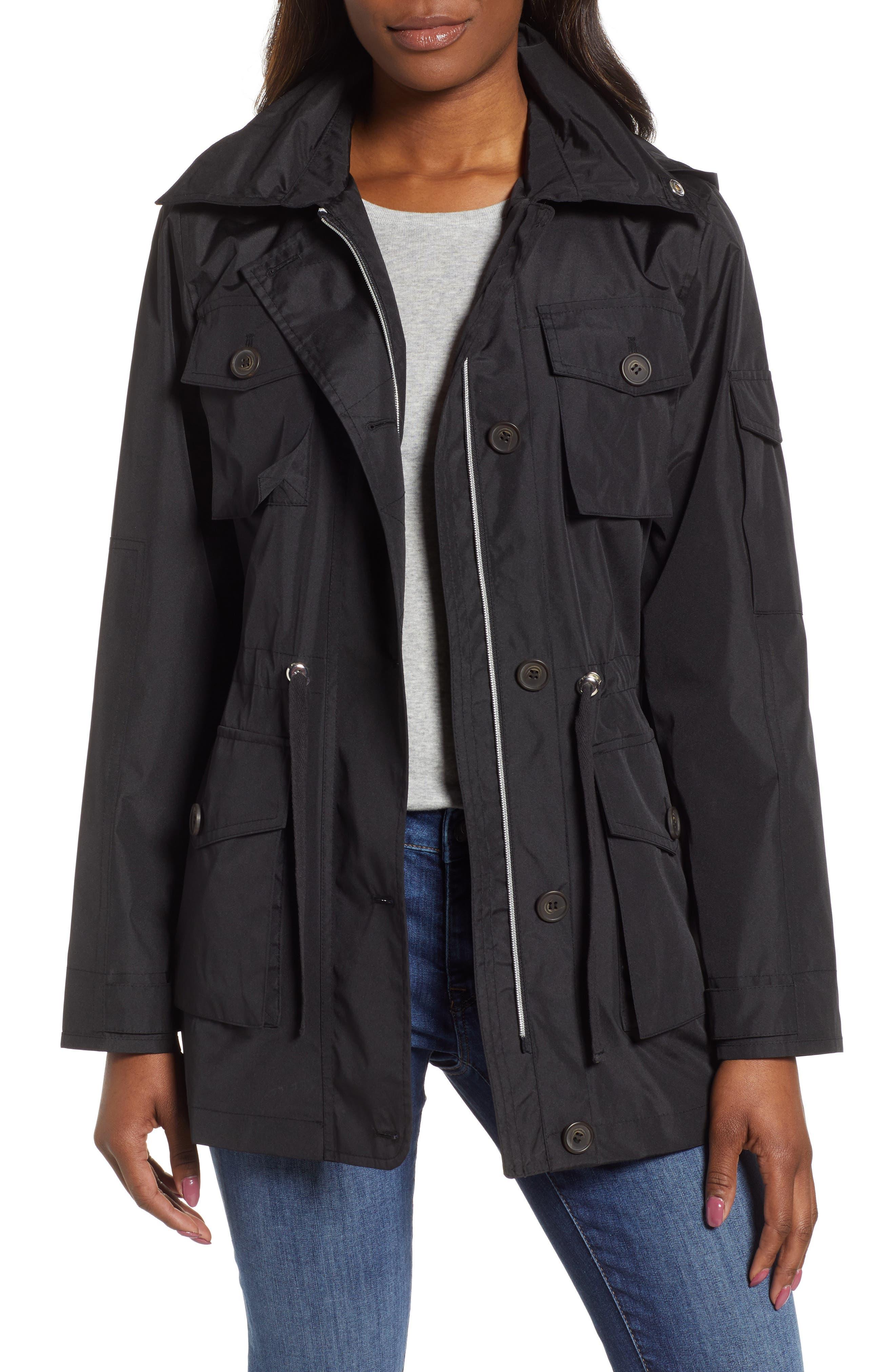 4-Pocket Water Repellent Utility Jacket, Main, color, BLACK