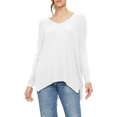 Michael Stars Gianna Relaxed V-Neck Long Sleeve Top, Size One Size - White