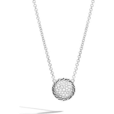 John Hardy Chain Classic Pave Diamond Pendant Necklace