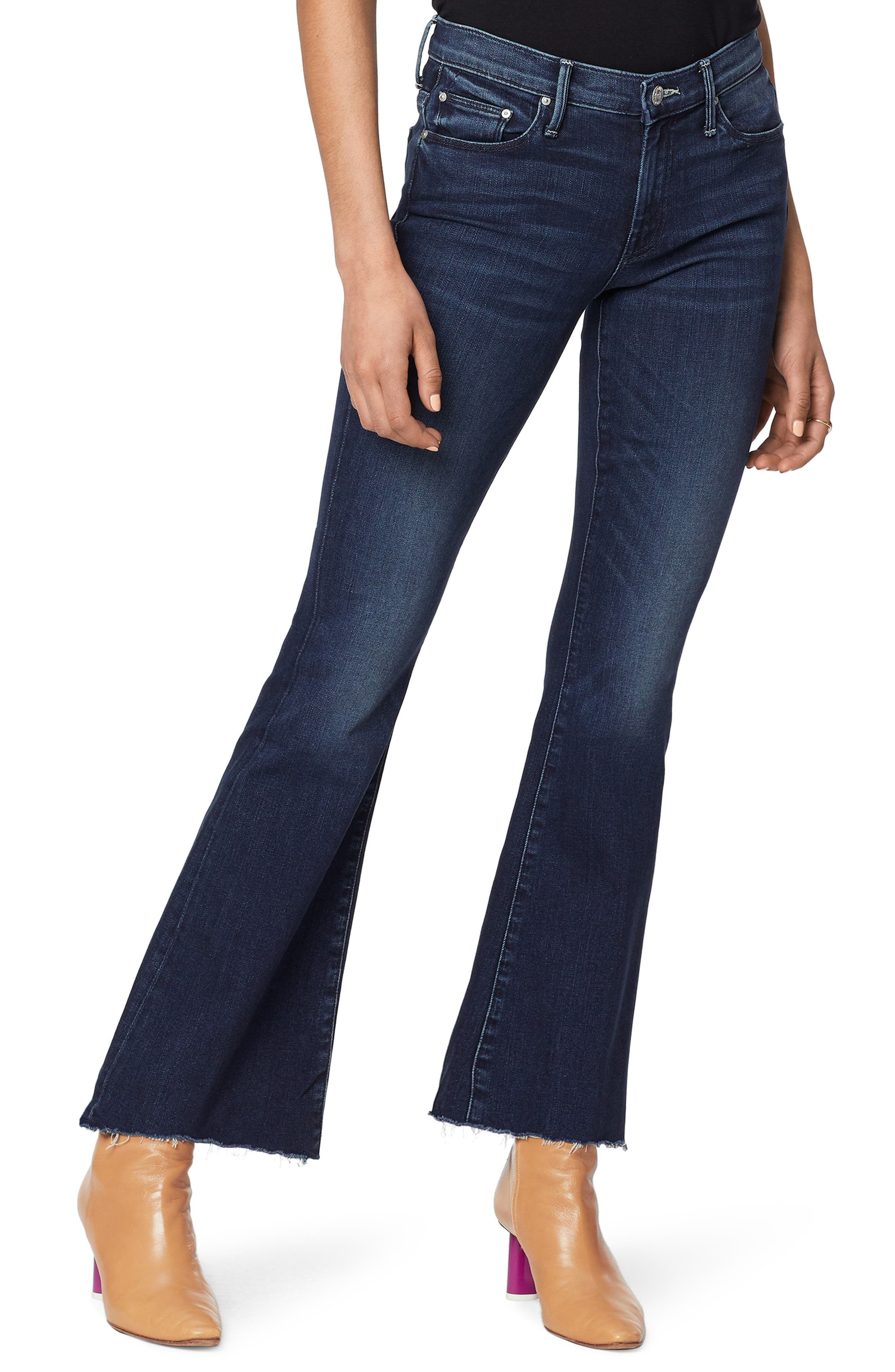 Mother Jeans The Weekend High Waist Fray Hem Flare Jeans