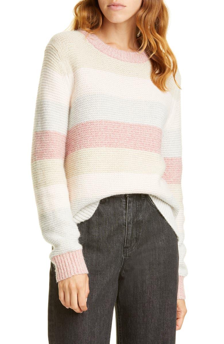 LA VIE REBECCA TAYLOR Stripe Merino Wool Blend Sweater, Main, color, MULTI COMBO