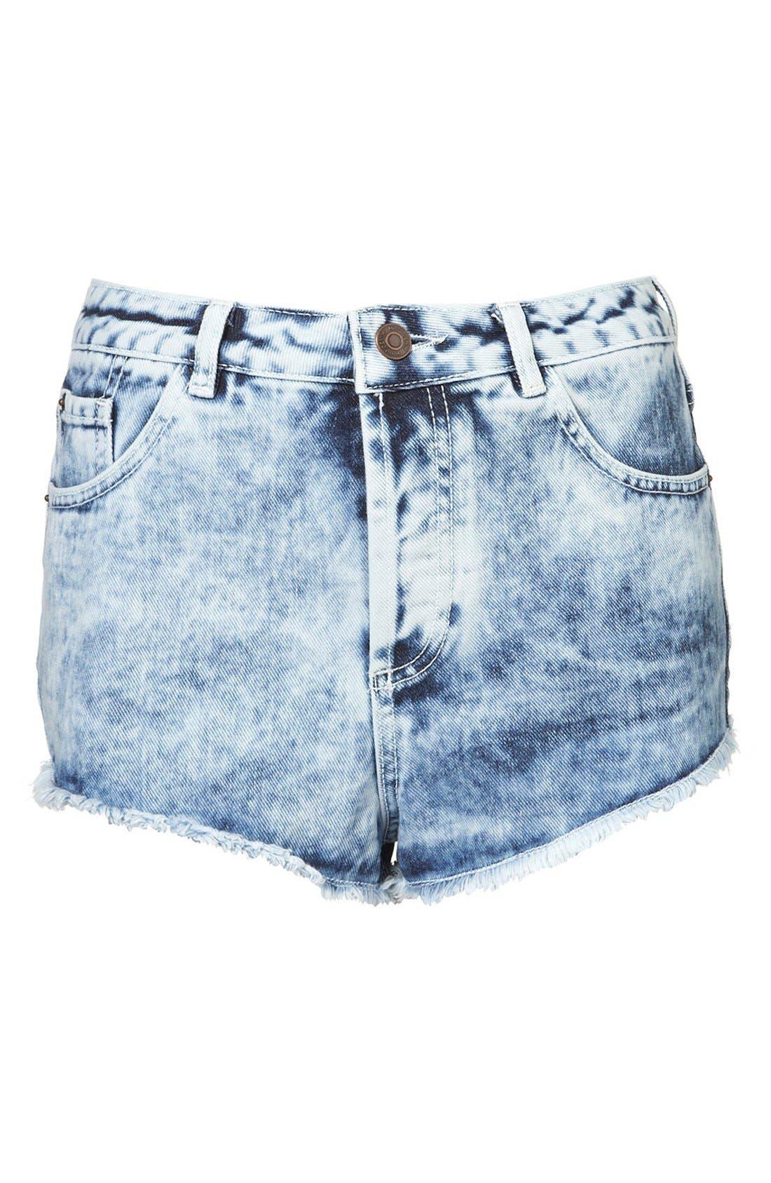 ,                             Moto 'Holly' Acid Wash Denim Shorts,                             Alternate thumbnail 4, color,                             420