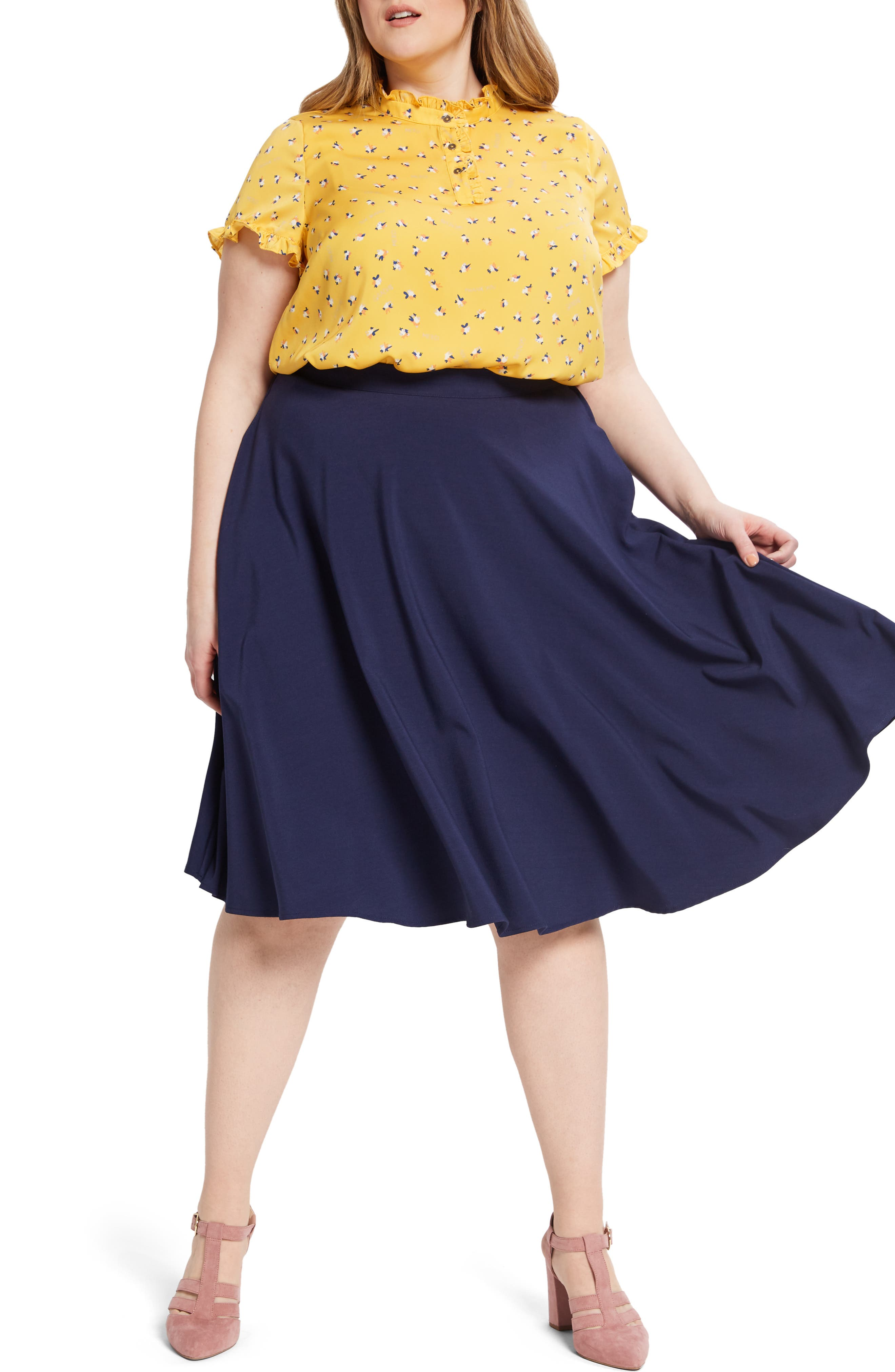 ,                             Form of Flattery Ruffle Top,                             Alternate thumbnail 6, color,                             YELLOW MULTI