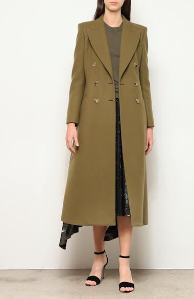 Double-Breasted Three-Quarter Wool Blend Coat, video thumbnail