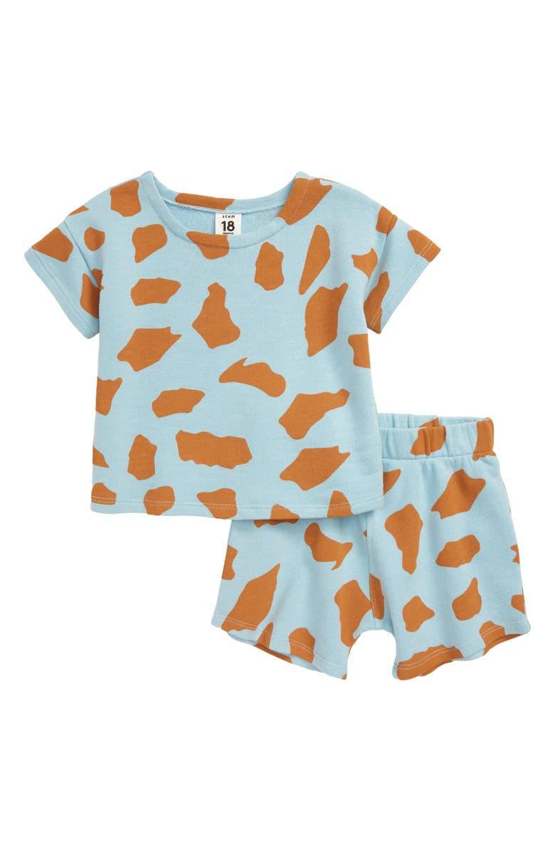 STEM Beach T-Shirt & Shorts Set, Main, color, BLUE BASALT ROCKS