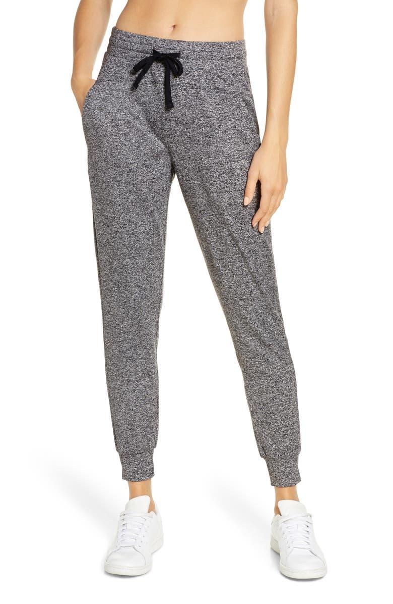 ZELLA Serene Cozy Mélange Jogger Pants, Main, color, BLACK