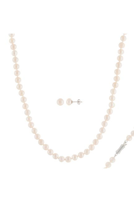 Image of Splendid Pearls 7-8mm White Freshwater Pearl Earrings & Necklace Set