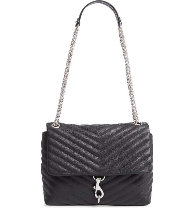REBECCA MINKOFF Edie Flap Quilted Leather Shoulder Bag, Main, color, 001