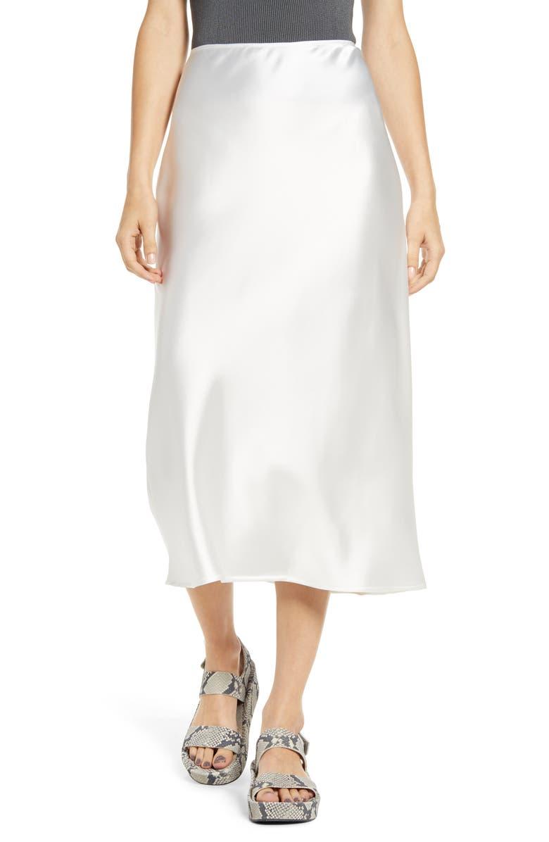 TOPSHOP A-Line Midi Skirt, Main, color, IVORY