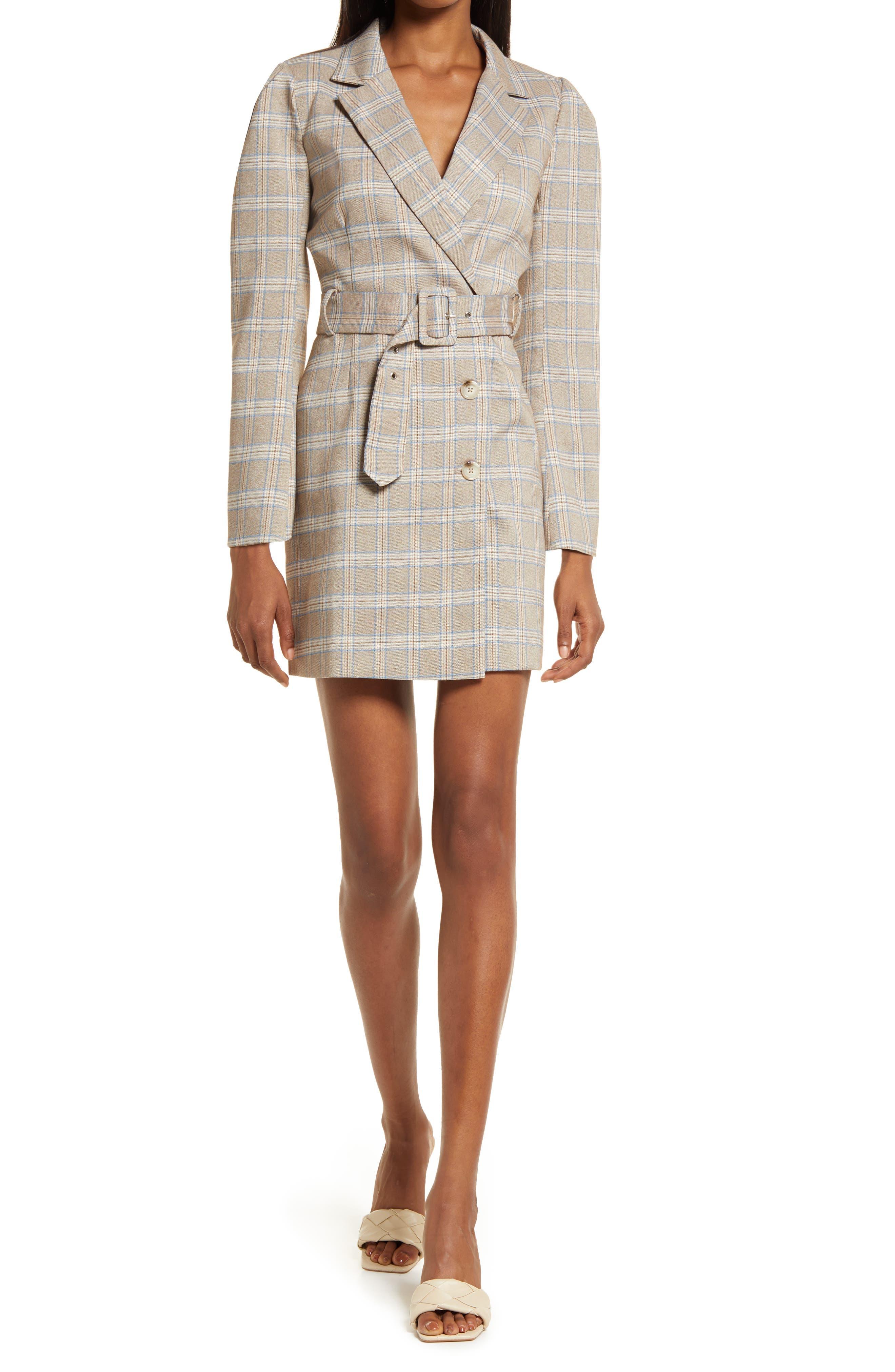 Don Windowpane Long Sleeve Belted Blazer Minidress