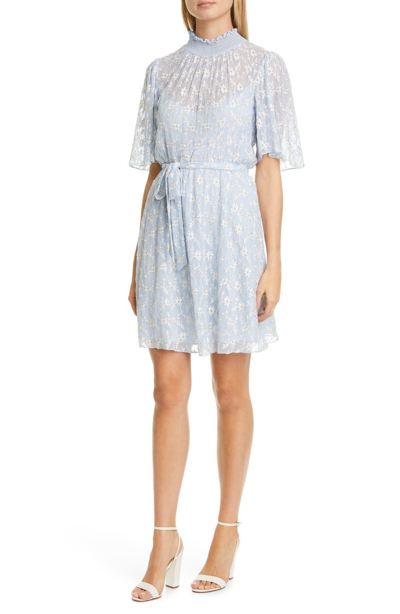 REBECCA TAYLOR Vine Embroidery Cotton & Silk Cocktail Dress, Main, color, ECHO BLUE COMBO