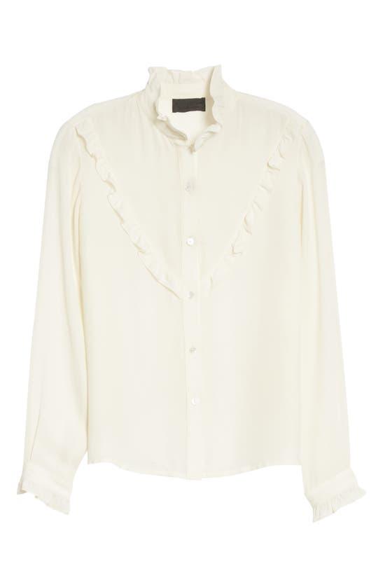 Nili Lotan Marcela Ruffle Trim Shirt In Ivory