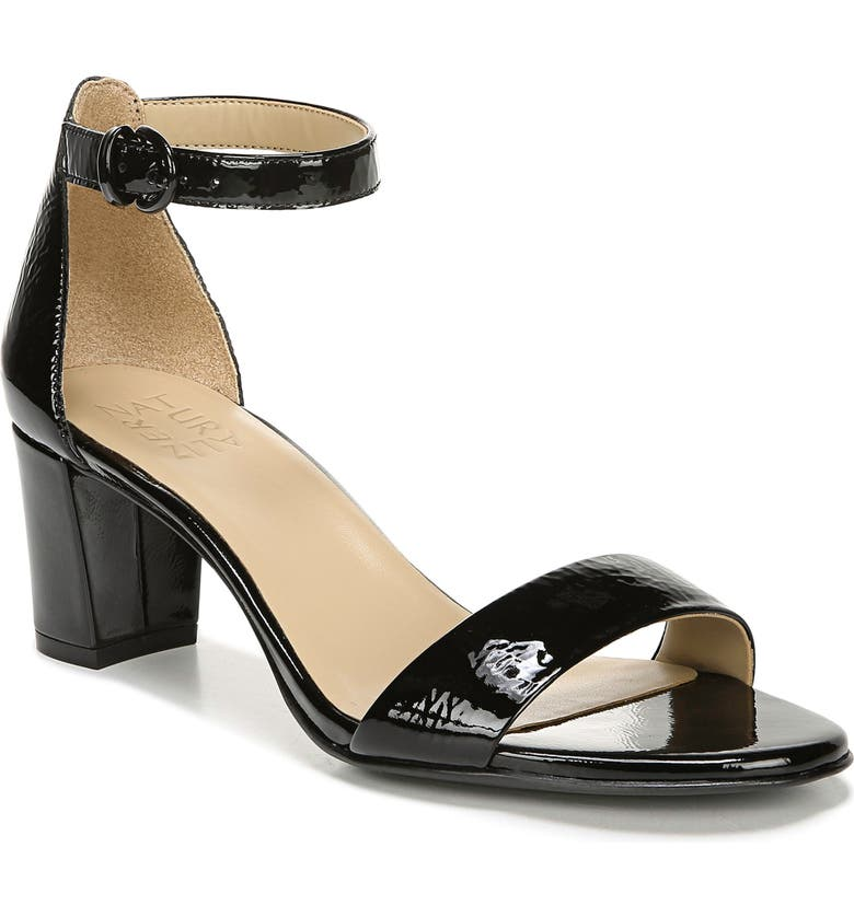 NATURALIZER Vera Ankle Strap Sandal, Main, color, BLACK PATENT LEATHER