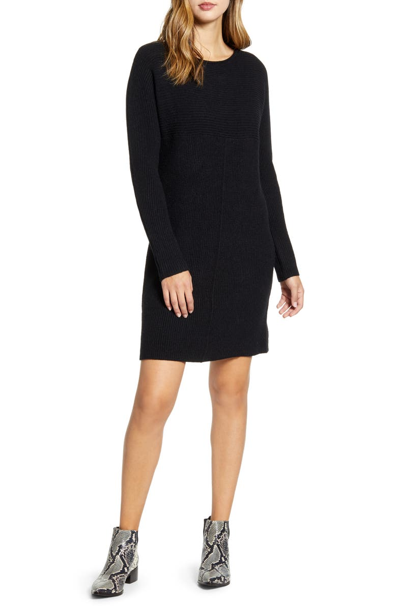 CASLON<SUP>®</SUP> Sweater Dress, Main, color, BLACK