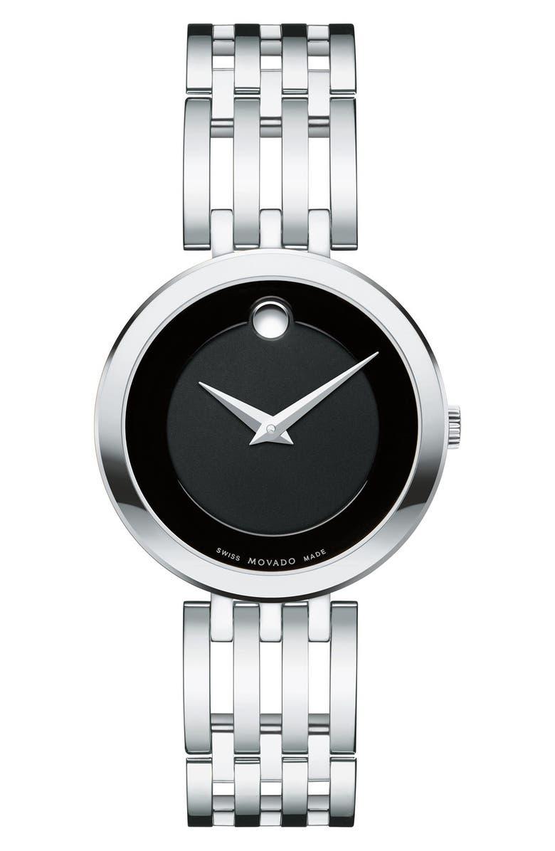 MOVADO 'Esperanza' Bracelet Watch, 28mm, Main, color, SILVER/ BLACK