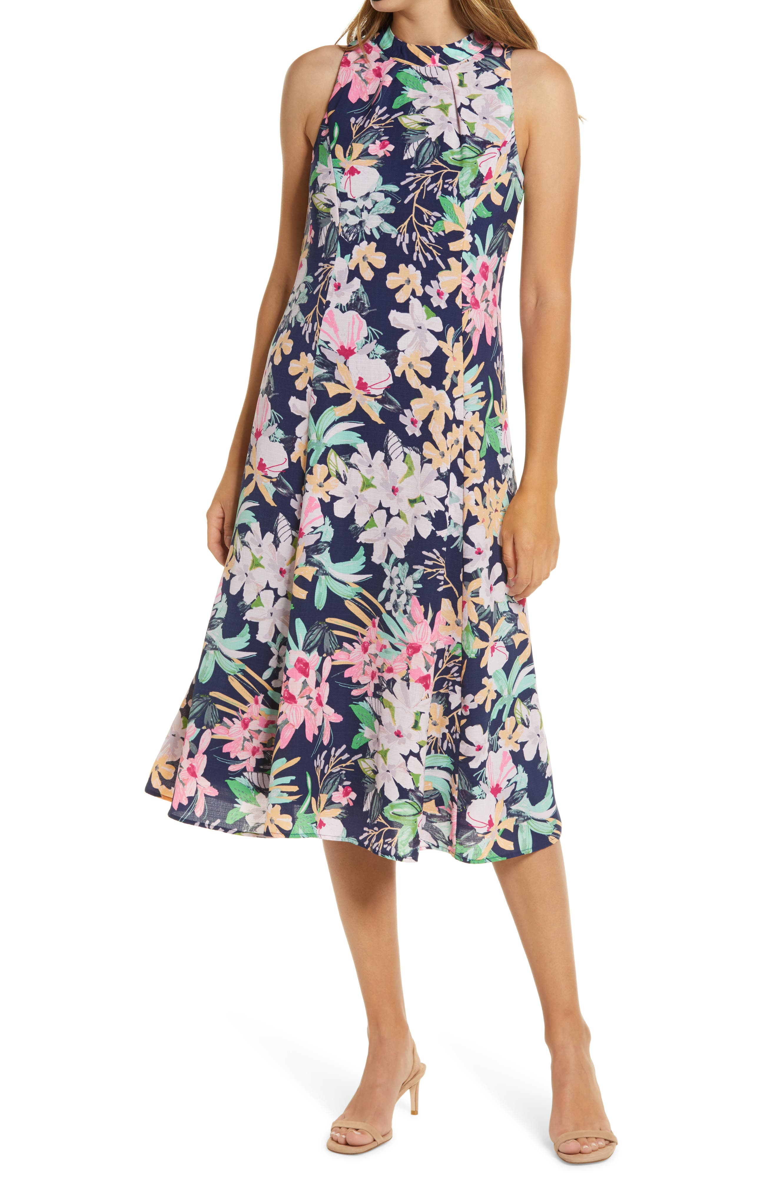Donna Ricco Floral Midi Dress   Nordstrom
