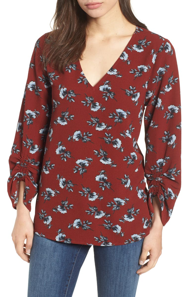 BOBEAU Ruched Sleeve Stretch Crepe Blouse, Main, color, 400