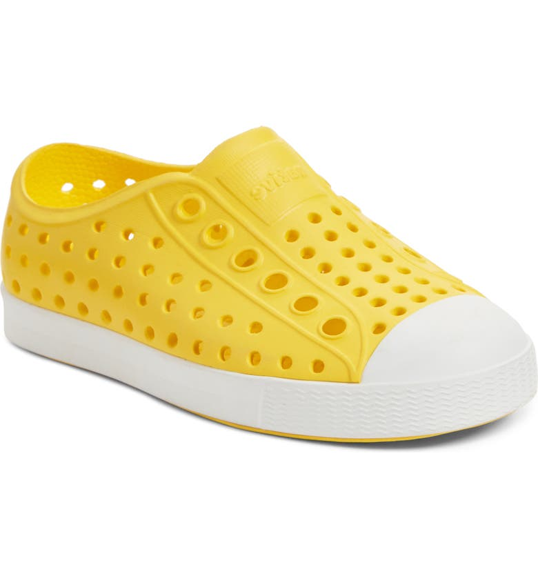 NATIVE SHOES Jefferson Water Friendly Slip-On Vegan Sneaker, Main, color, YELLOW/ SHELL WHITE