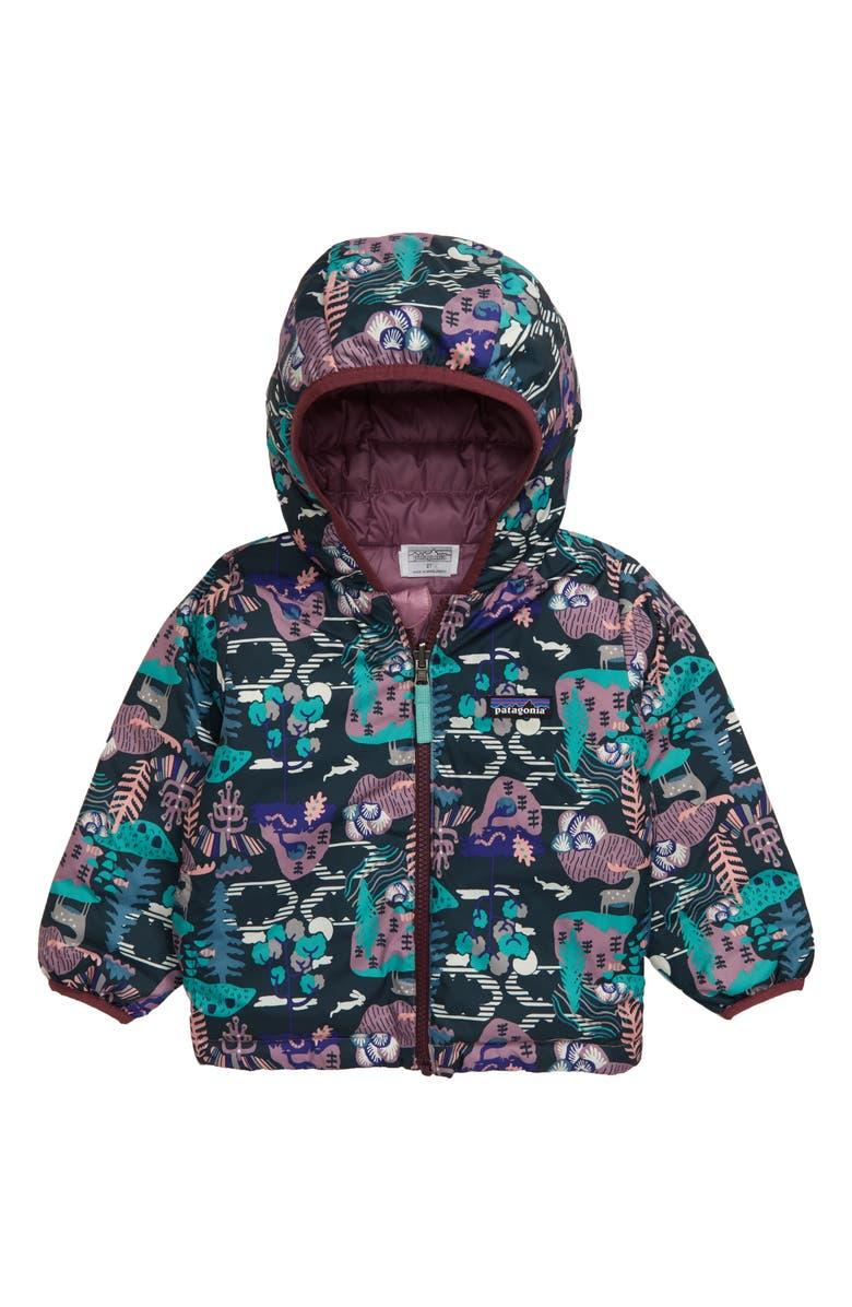 PATAGONIA Reversible Down Sweater Hoodie, Main, color, WANDER THE WOODS PIKI GREEN