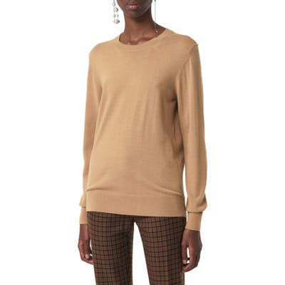 Burberry Bempton Tartan Elbow Patch Merino Wool Sweater, Brown