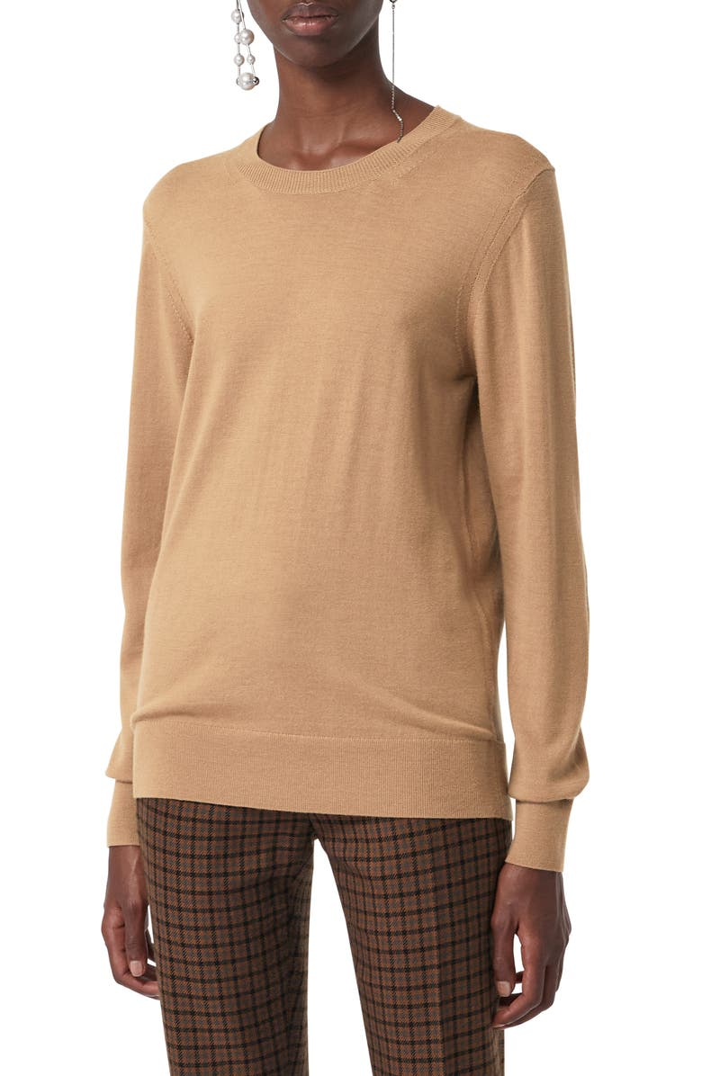 BURBERRY Bempton Tartan Elbow Patch Merino Wool Sweater, Main, color, CAMEL