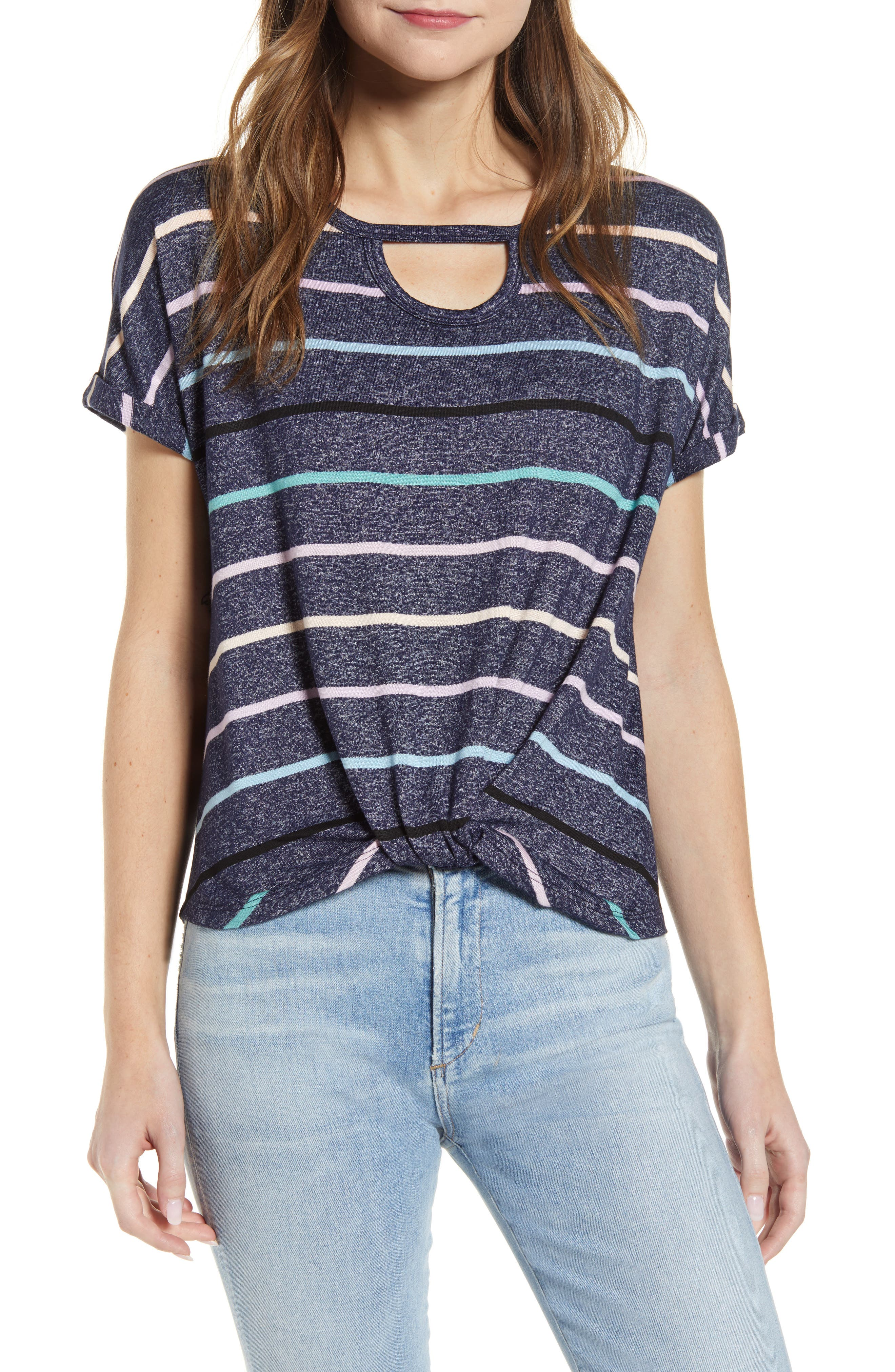 A soft knit top is updated with an airy cutout neckline, pastel stripes and a flattering twisted hem. Style Name: Wit & Wisdom Cutout Scoop Neck Twist T-Shirt (Nordstrom Exclusive). Style Number: 6012651. Available in stores.