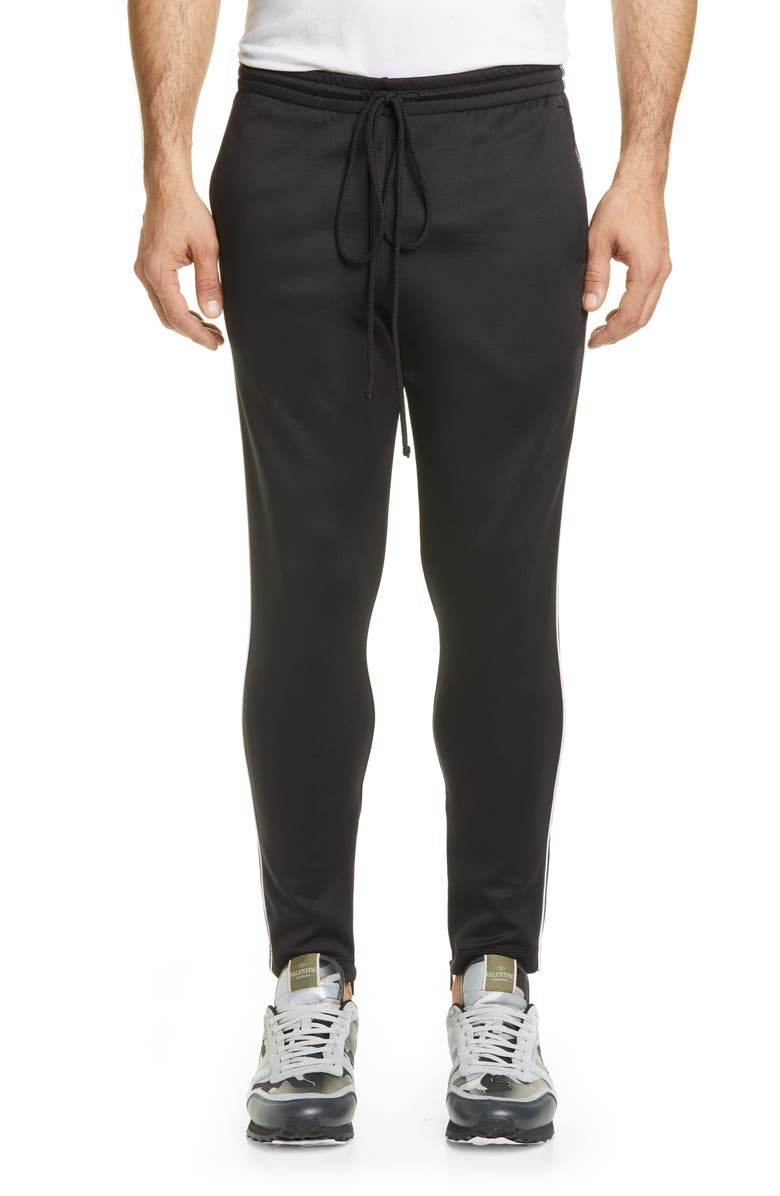VALENTINO Piped Track Pants, Main, color, BLACK
