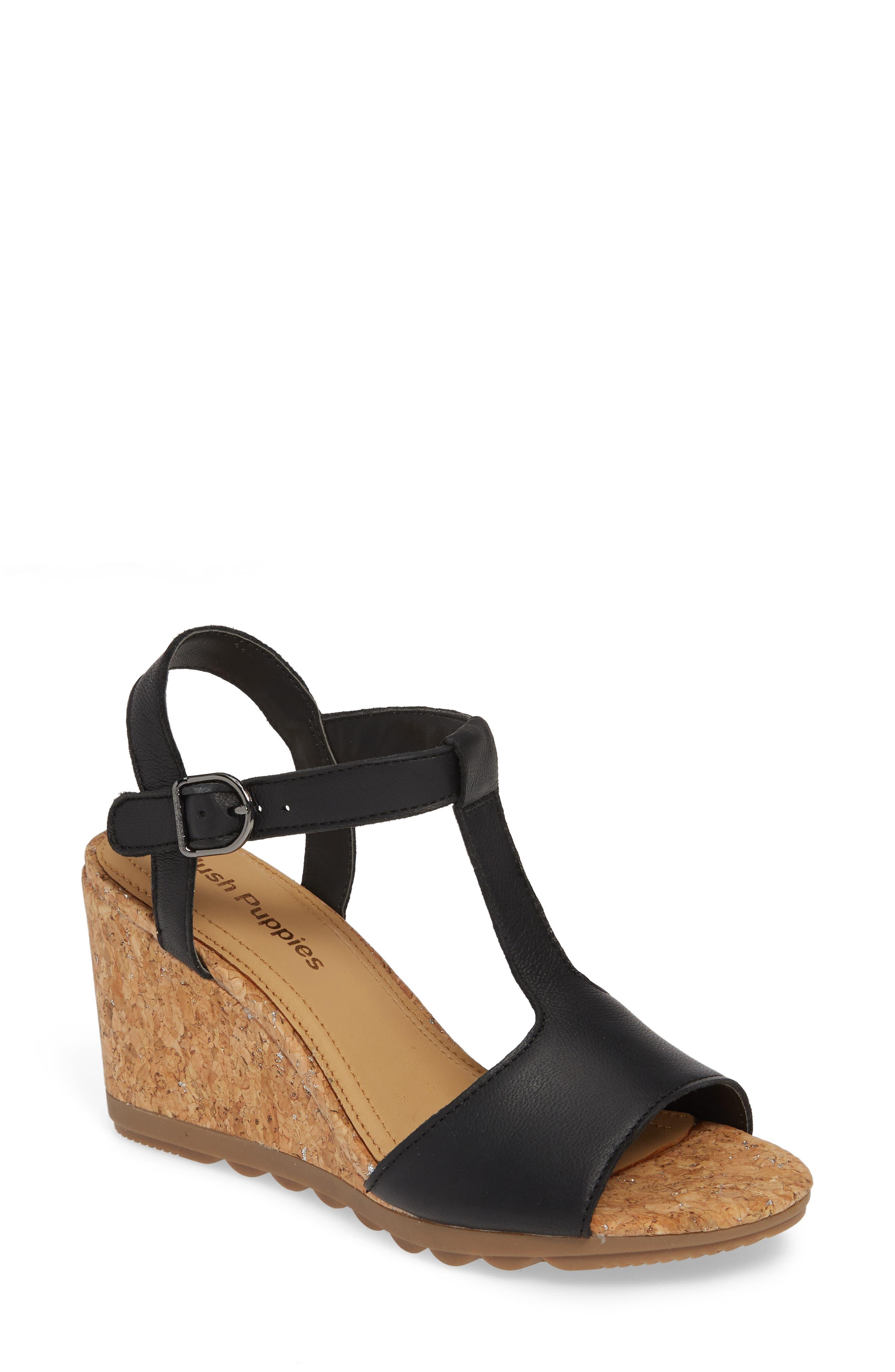 ,                             Pekingese Wedge Sandal,                             Main thumbnail 1, color,                             BLACK LEATHER
