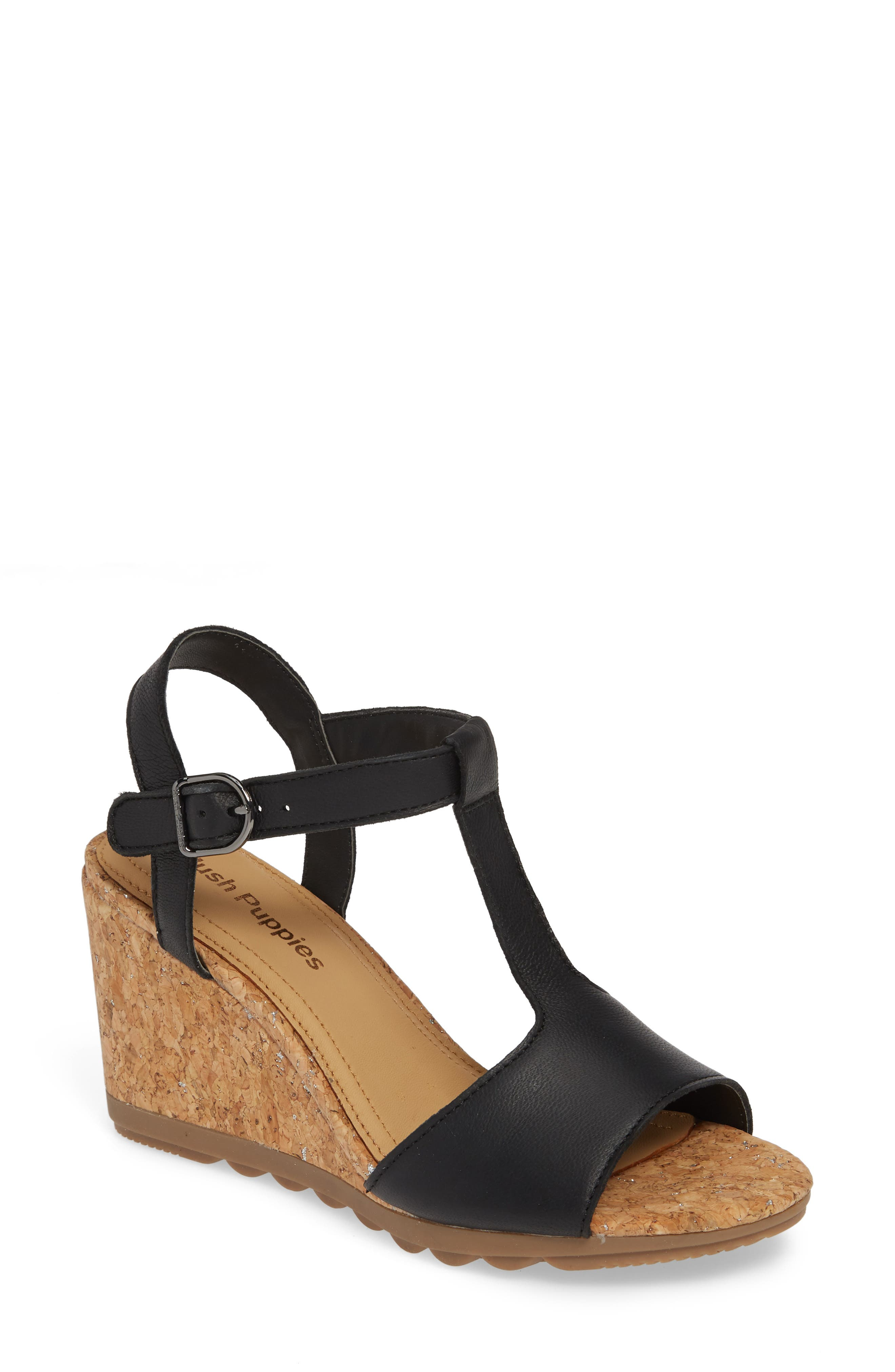Pekingese Wedge Sandal, Main, color, BLACK LEATHER