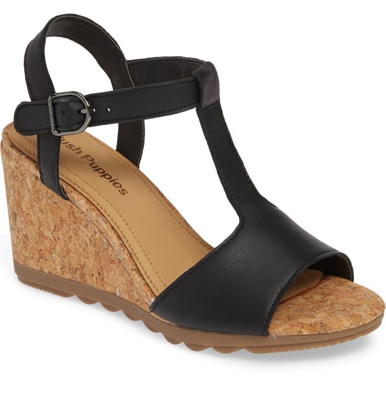 HUSH PUPPIES<SUP>®</SUP> Pekingese Wedge Sandal, Main, color, 001