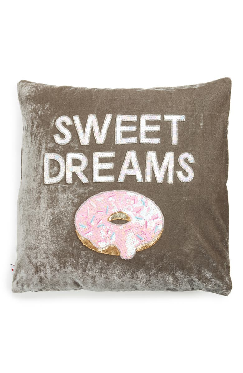 BOW & DRAPE Sweet Dreams Velvet Pillow, Main, color, 020