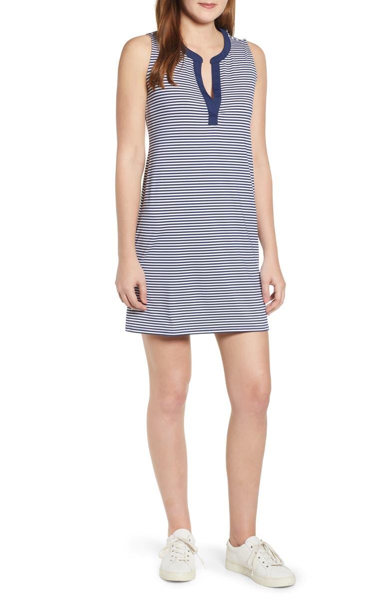 VINEYARD VINES Sankaty Stripe Stretch Knit Shift Dress, Main, color, DEEP BAY