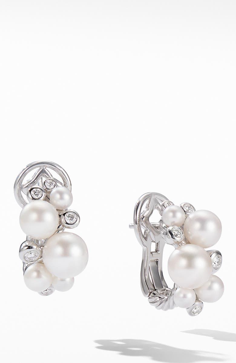 DAVID YURMAN Pearl & Diamond Cluster Earrings, Main, color, SILVER/ DIAMOND/ PEARL