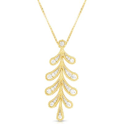 Roberto Coin Small Byzantine Barocco Leaf Diamond Necklace