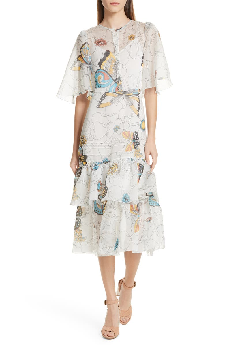 96e1bfcbc8 See by Chloé Butterfly Print Ruffle Trim Midi Dress | Nordstrom