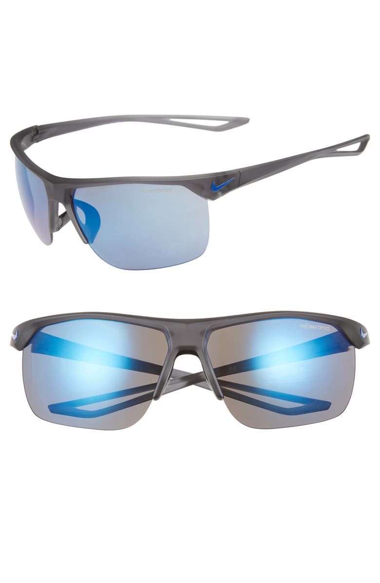 NIKE Trainer R 67mm Oversize Sunglasses, Main, color, MATTE GREY/ GREY BLUE MIRROR
