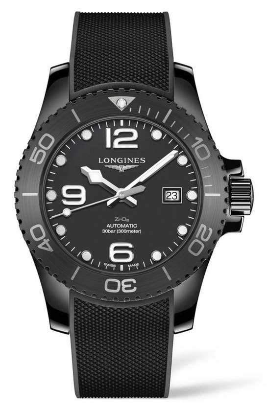 Longines Hydroconquest Automatic Rubber Strap Watch, 43mm In Black