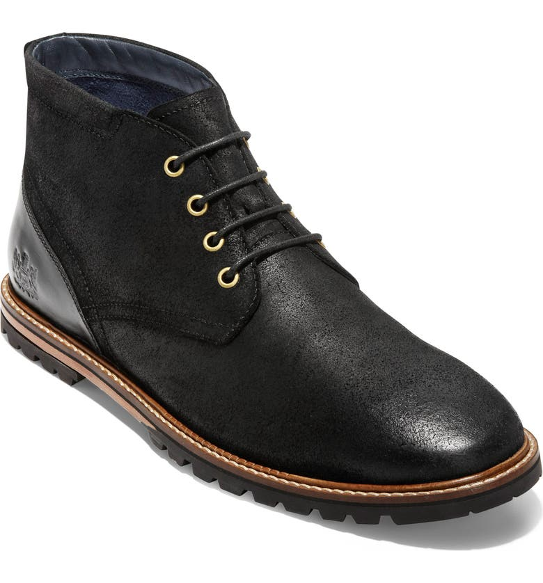 COLE HAAN Raymond Grand Water Resistant Chukka Boot, Main, color, BLACK DISTRESSED LEATHER