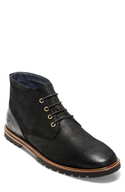Cole Haan Raymond Grand Water Resistant Chukka Boot In Black Distressed Leather