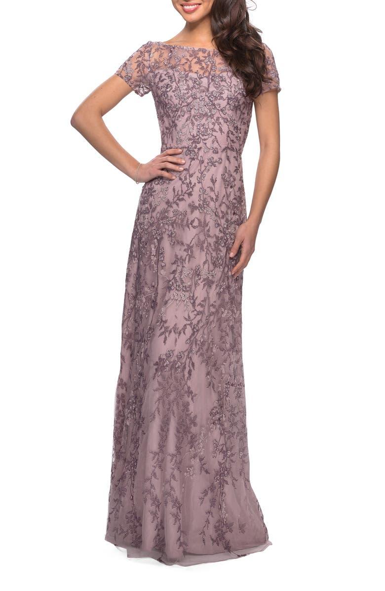 LA FEMME Lace Column Gown, Main, color, DUSTY LILAC