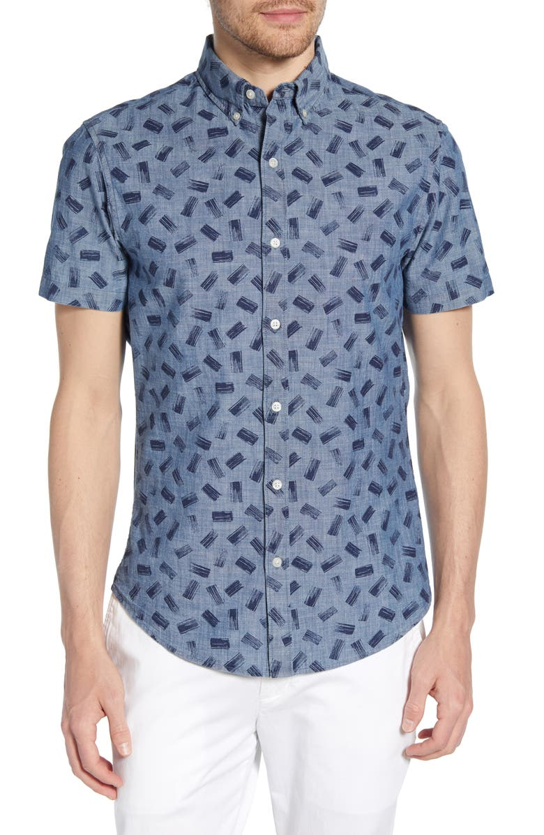 BONOBOS Riviera Slim Fit Print Shirt, Main, color, PAINT MARK MEDIUM CHAMBRAY