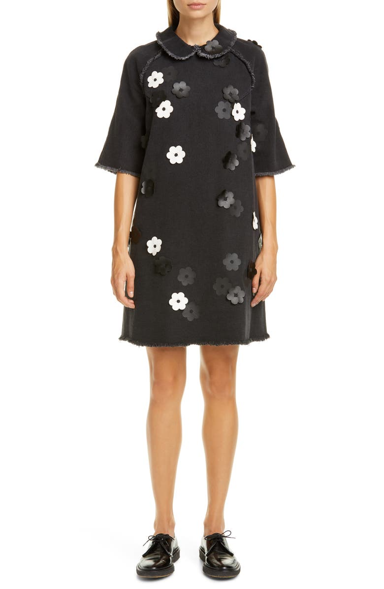 PASKAL Floral Appliqué Denim Shift Dress, Main, color, 001
