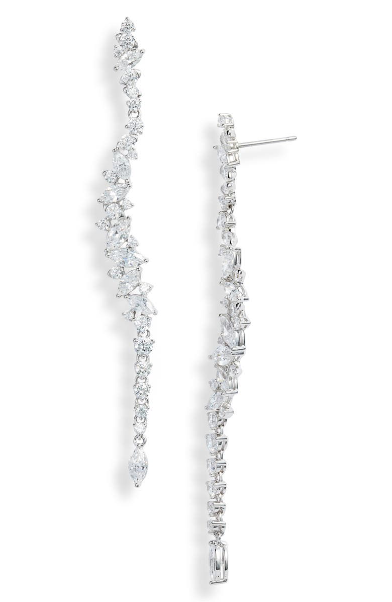NADRI Tango Necklace Scattered Linear Earrings, Main, color, RHODIUM