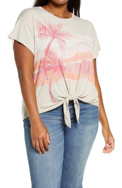 Image of Democracy Tropical Print Tie Hem T-Shirt