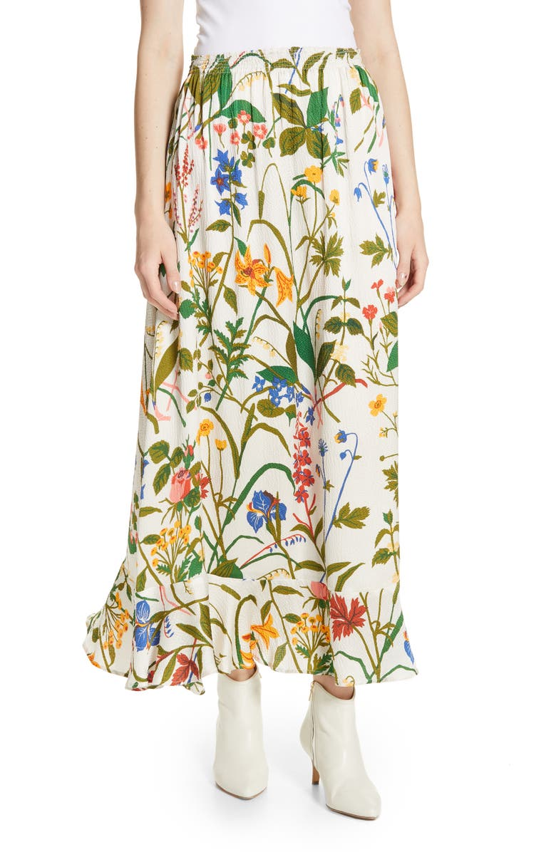RODEBJER Irmaline Floral Print Silk Skirt, Main, color, 900